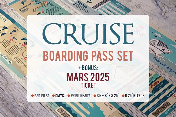 Cruise Boarding Pass Set