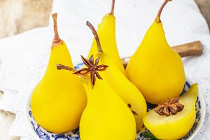 Sweet fragrant pears poached with sa