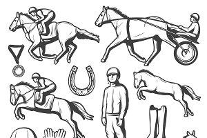 Vintage Equestrian Sport Icons Set