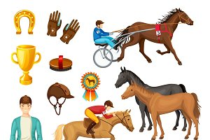 Equestrian Cartoon Elements Set