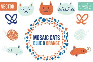 Mosaic Cats & Mice - Orange & Blue