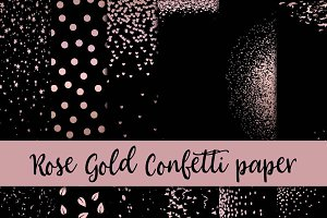 Rose Gold Confetti Digital Paper