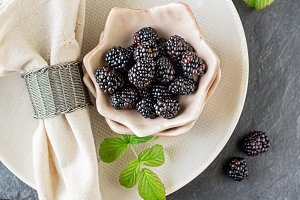 Fresh blackberries for breakfast in