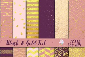 Blush & Gold Foil Digital Paper