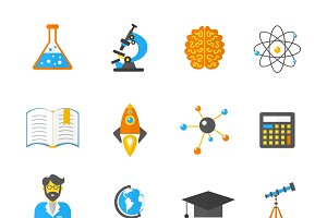 Science and research icon flat set