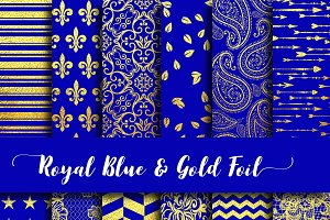 Royal Blue & Gold Foil Digital Paper