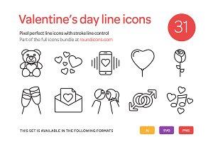 Valentine's Day Line Icons Set
