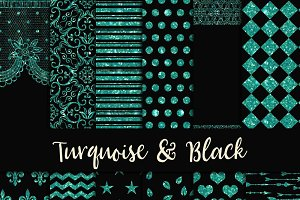 Turquoise & Black Digital Paper