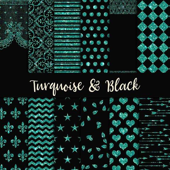 Turquoise Black Digital Paper
