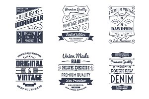 Denim typography logo emblems set