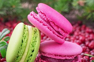 Macaroons with cranberry