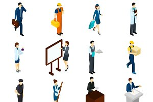 Professional people isometric icons