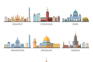 World famous capitals landscapes