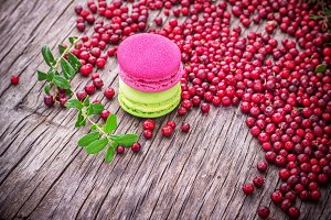 French Macarons with cranberries on
