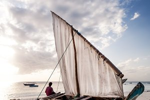 Dhow on beach on Zanzibar Island.