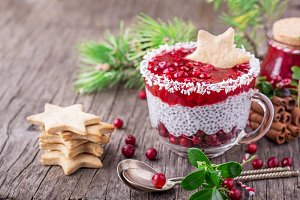 Festive breakfast of cranberry sauce