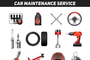 Car maintenance service icons set