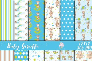 Baby Giraffe for Boys Digital Paper