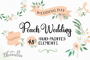 Peach Floral Wedding Flower Kit
