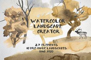 Watercolor landscape creator
