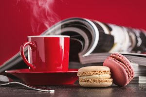 Magazines, coffee, macaroons.
