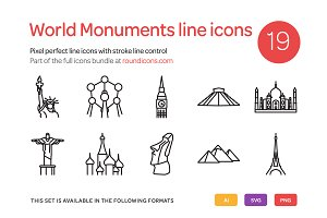 World Monuments Line Icons Set