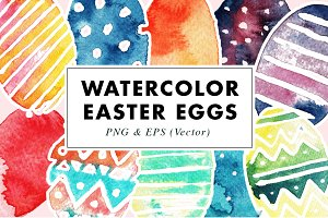 Vector & PNG Easter Eggs Watercolor
