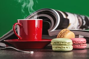 Macaroons, magazines, coffee.
