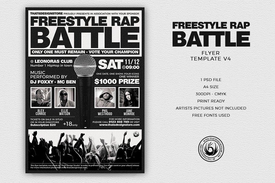 Freestyle Rap Battle Flyer PSD V4 - Flyer Templates | Creative ...
