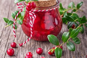 Homemade cranberry sauce in a small