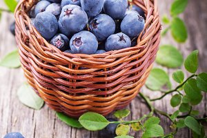 fresh blueberries in a little basket