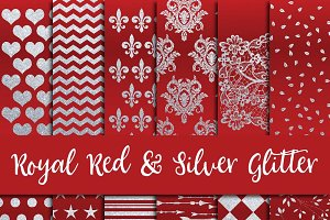 Royal Red & Silver Glitter Paper