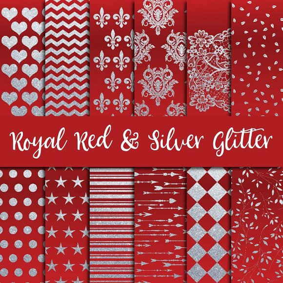 Royal Red Silver Glitter Paper
