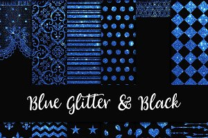 Blue Glitter & Black Digital Paper