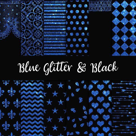 Blue Glitter Black Digital Paper