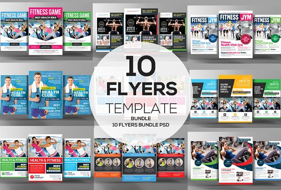 10 Fitness Business Flyers Bundle