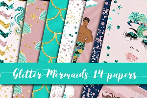 Glitter Mermaids Digital Paper