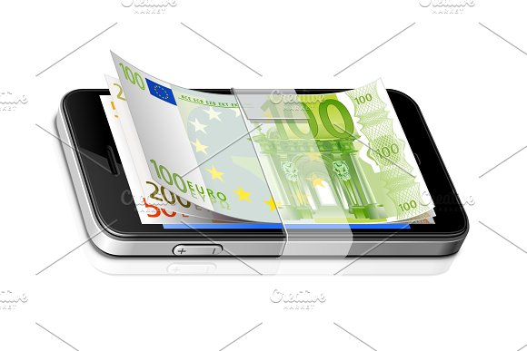 Mobile Bank Vector Realistic Icon