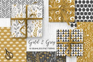 Gold & Grey Modern Floral Patterns