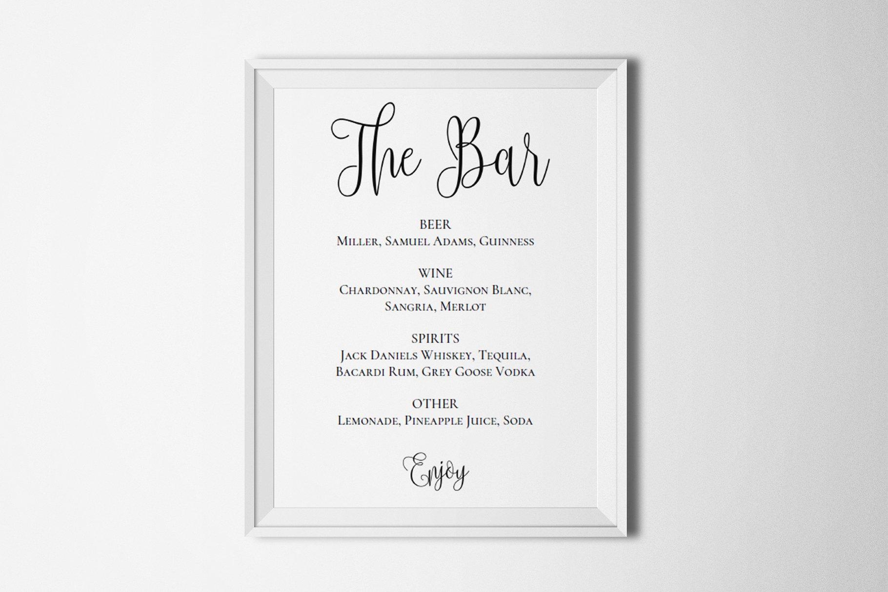 Wedding Bar Menu Template Drink Sign Stationery Templates