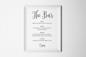 Wedding bar menu template Drink sign