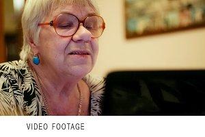 Senior woman having a video chat