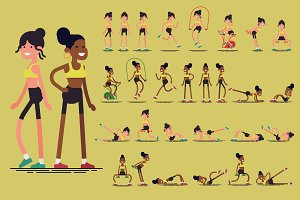 Flat Characters: Fitness Ladies