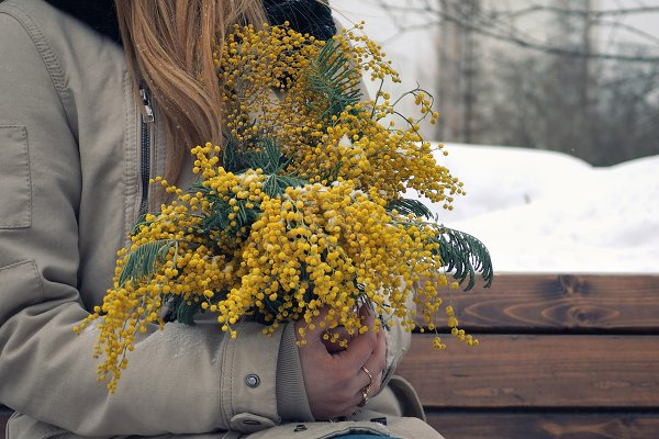 Women's hands hold a bouquet