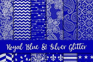 Royal Blue & Silver Glitter Paper