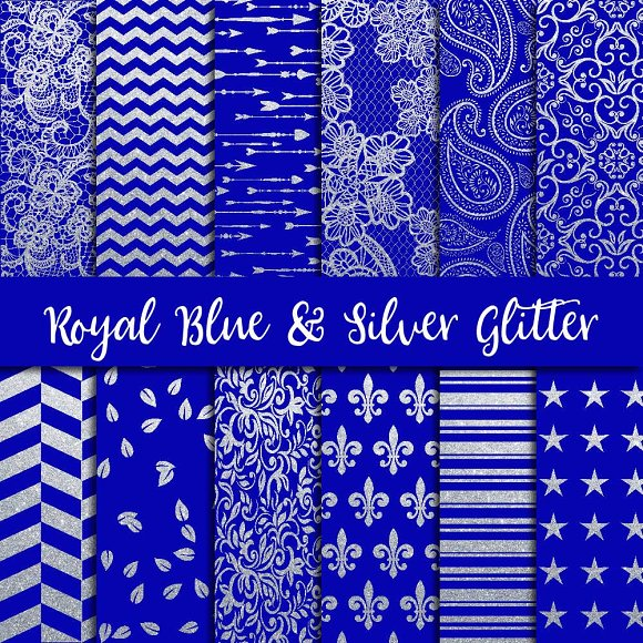 Royal Blue Silver Glitter Paper