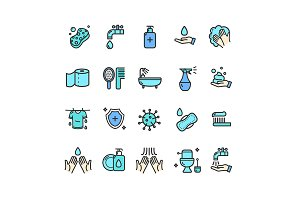 Hygiene Thin Line Icon Set. Vector