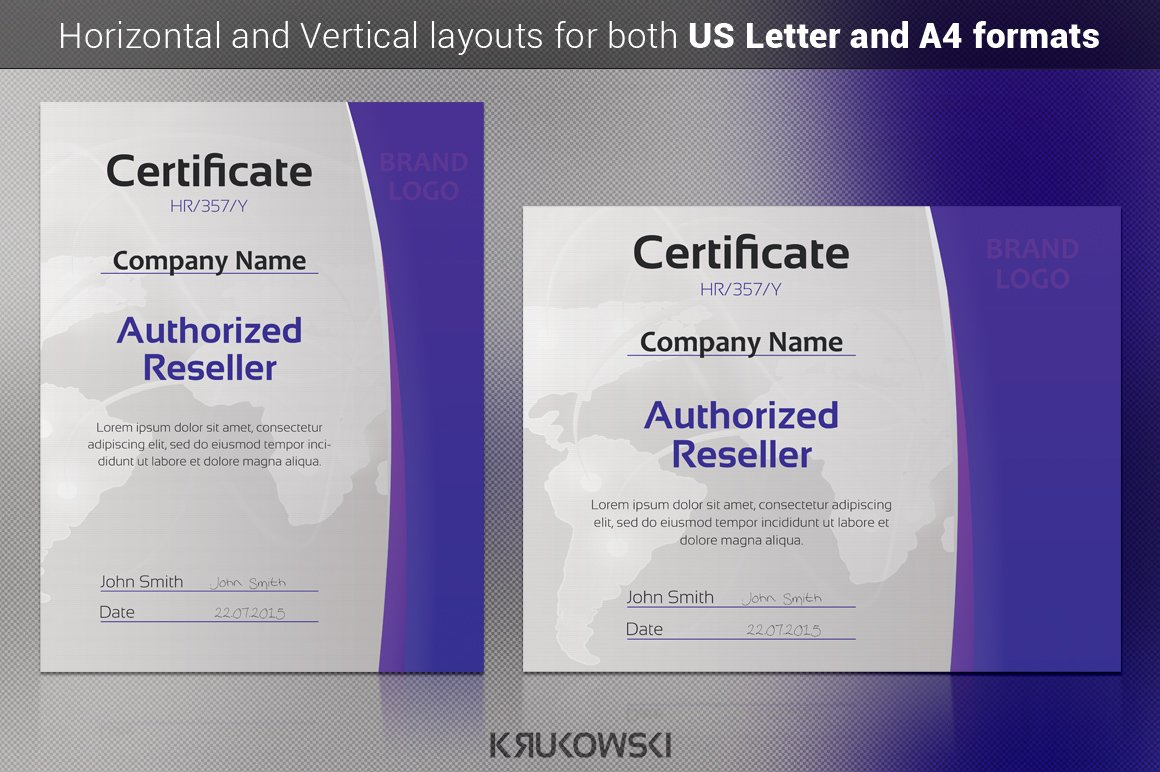 Reseller certificate stationery templates creative market xflitez Images