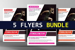 5 Fitness & Gym Sport Flyers Bundle