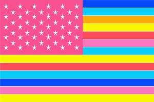 American flag, vivid modern colors
